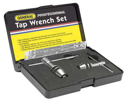 GENERAL 167 Tap Wrench Set, 0 to 1/2 In, 3 pc