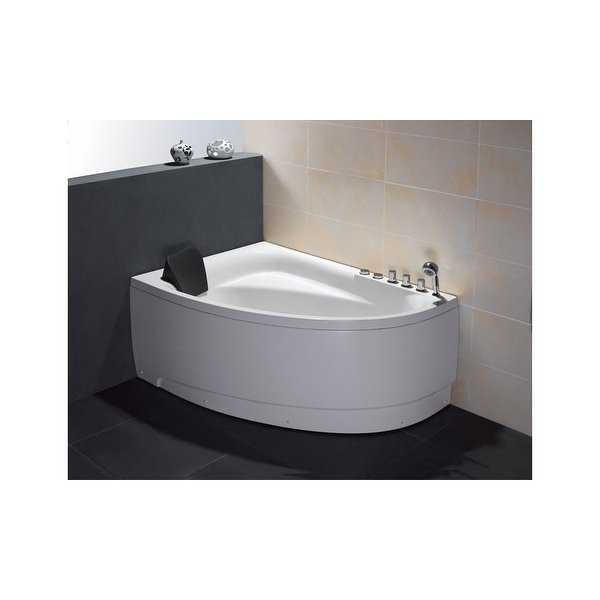 Eago AM161-R 59' Acrylic Whirlpool Bathtub for Alcove Installations with Chromat - White