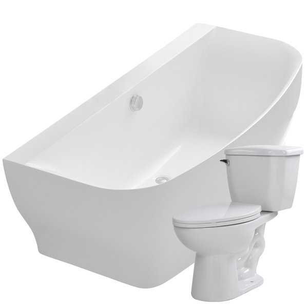 Bank 64.9 in. Acrylic Soaking Bathtub in White with Kame 2-piece 1.28 GPF Single Flush Toilet