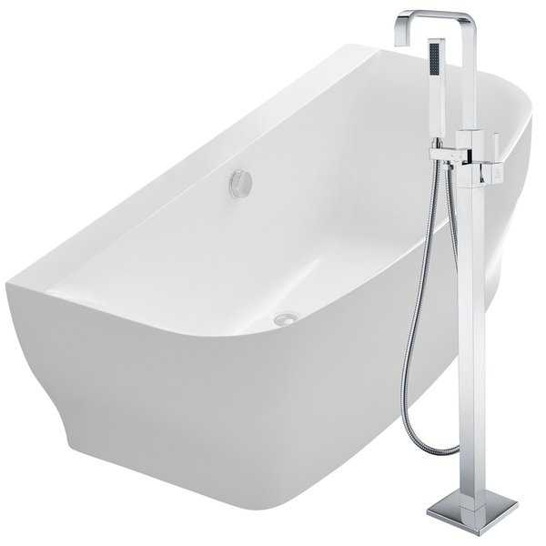 Bank 64.9 in. Acrylic Soaking Bathtub in White with Victoria Faucet in Polished Chrome