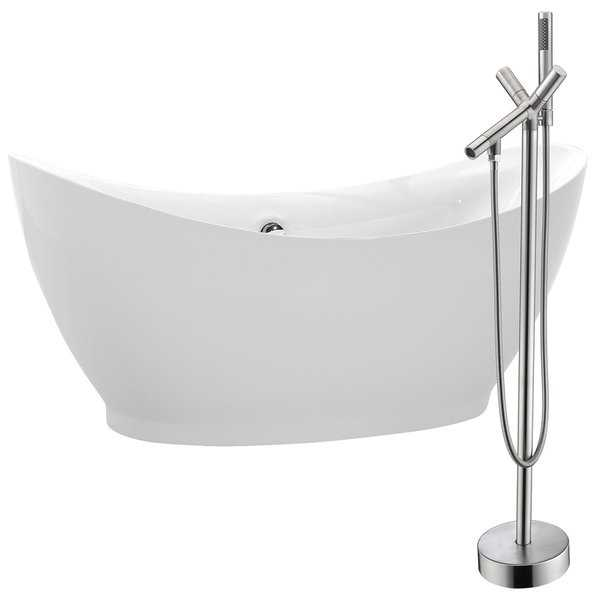 Reginald 68 in. Acrylic Soaking Bathtub in White with Havasu Faucet in Brushed Nickel