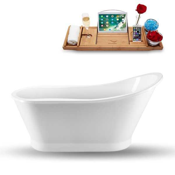 Streamline White Acrylic 59-inch Freestanding Tub, Faucet, and Tray Set