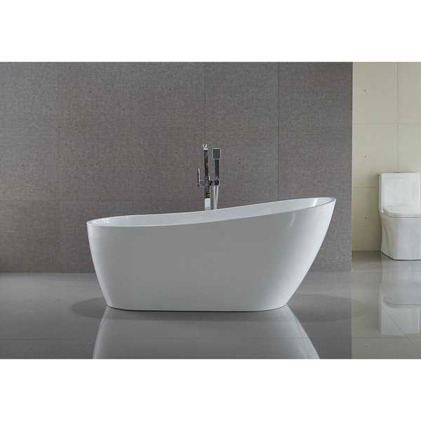ANZZI Trend Series 5.58 ft. Freestanding Bathtub in White