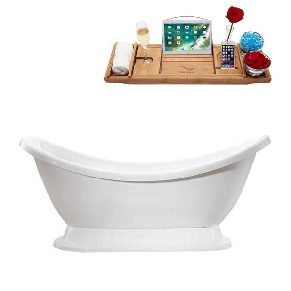 69' Streamline M-2380-69FSWH-FM Soaking Freestanding Tub and tray With Internal Drain