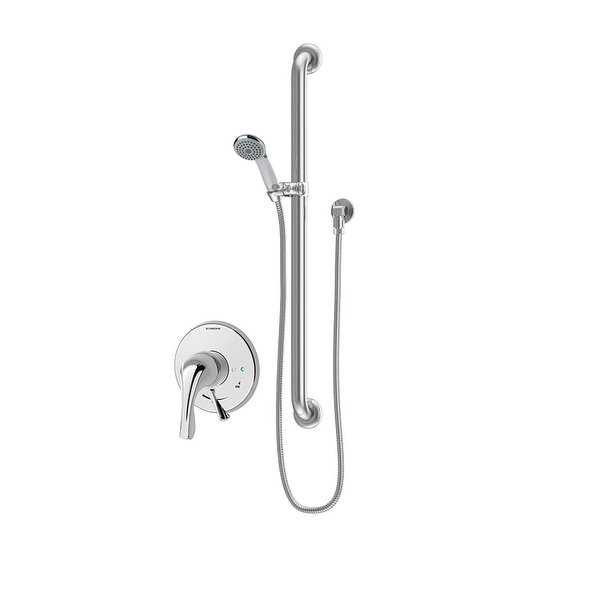 Symmons S-9603-X-PLR Origins Shower Trim Package with Single Function Shower Head and Rough In Valve with Double Lever Handle