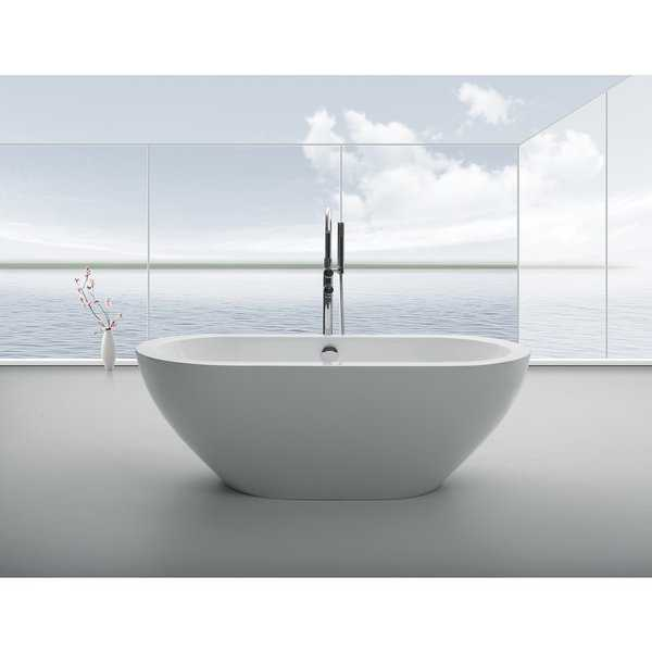Eviva Lina 67' White Free Standing Strengthen Acrylic Bathtub
