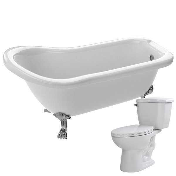Pegasus 61 in. Acrylic Clawfoot Soaking Bathtub in White with Kame 2-piece 1.28 GPF Single Flush Toilet