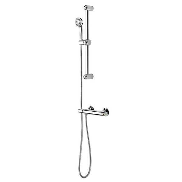 Thermostatic Valve with Hand Shower Sliding Bar Kit, Polished