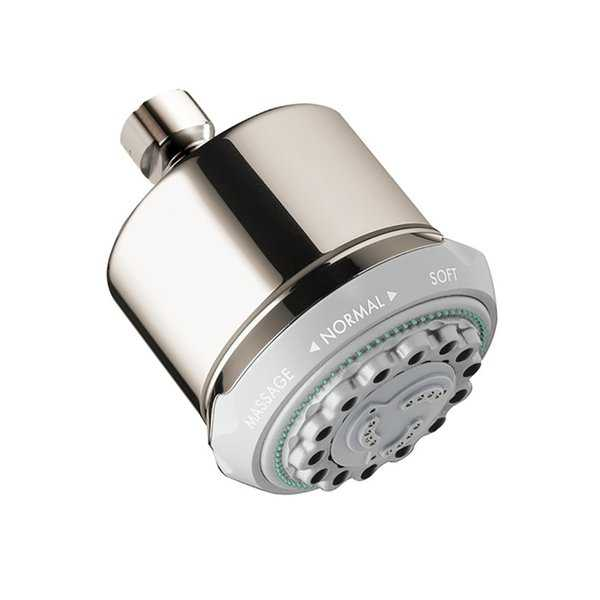 Hansgrohe Clubmaster Showerhead 3-Jet, 2.5 GPM Polished Nickel