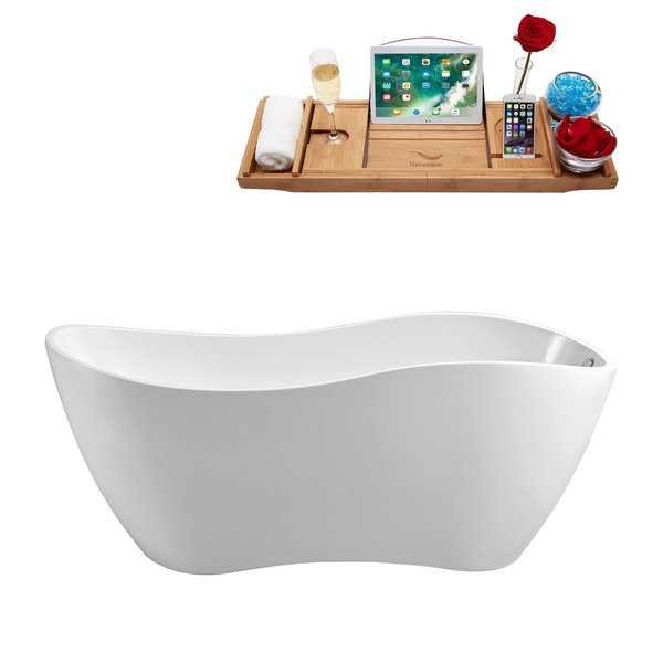 67' Streamline N-740-67FSWH-FM Soaking Freestanding Tub and Tray With Internal Drain