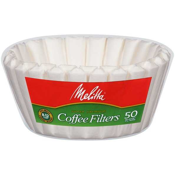 Melitta 8-12 Cup Basket Coffee Filters Paper White, 50 Count, 2 Pack
