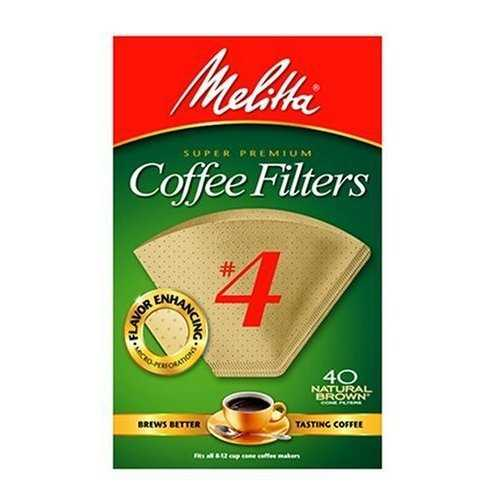 Melitta 624412 Cone Coffee Filters, No. 4, 40 Count, Natural Brown