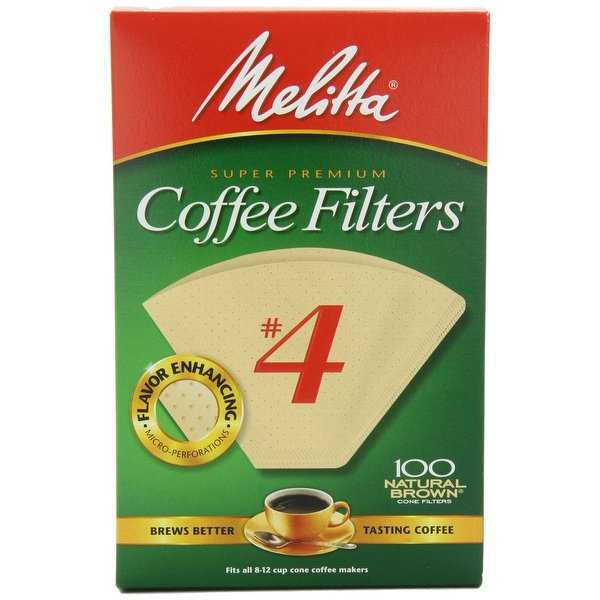 Melitta 624602 Cone Coffee Filters, 100 Count, Natural Brown